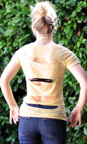 DIY cut out back t-shirt with lace bra